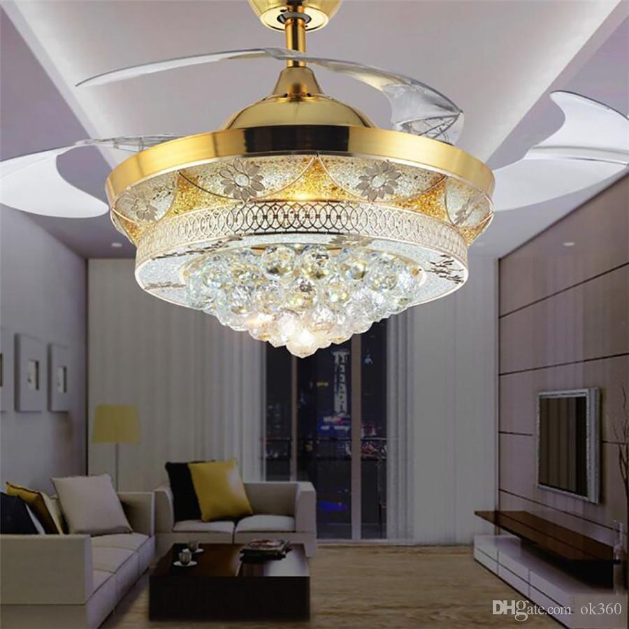 Modern crystal invisible ceiling fan light kit for living room bedroom 42 inch gold 4 telescopic blades fan chandeliers lighting fixture fan chandeliers