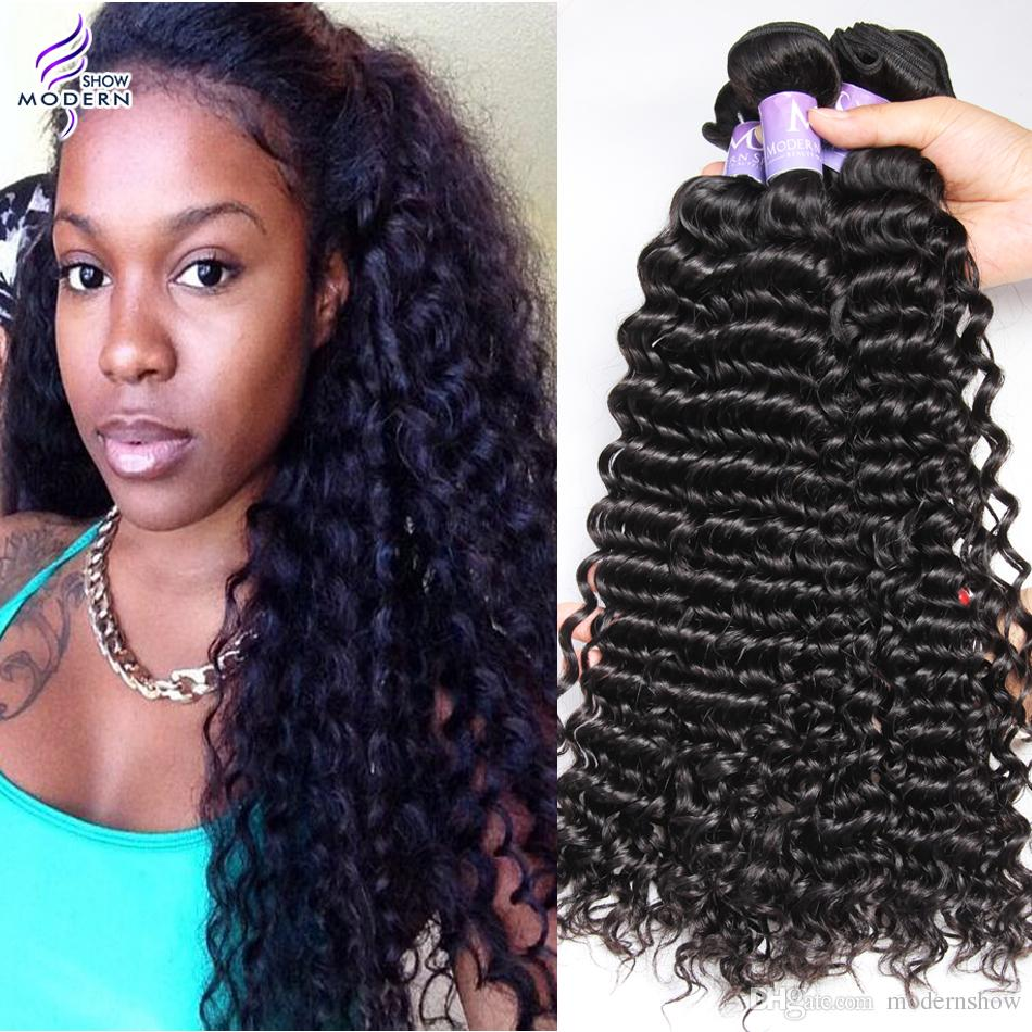 Modern Show Peruvian Curly Virgin Hair Human Hair Weave Natural