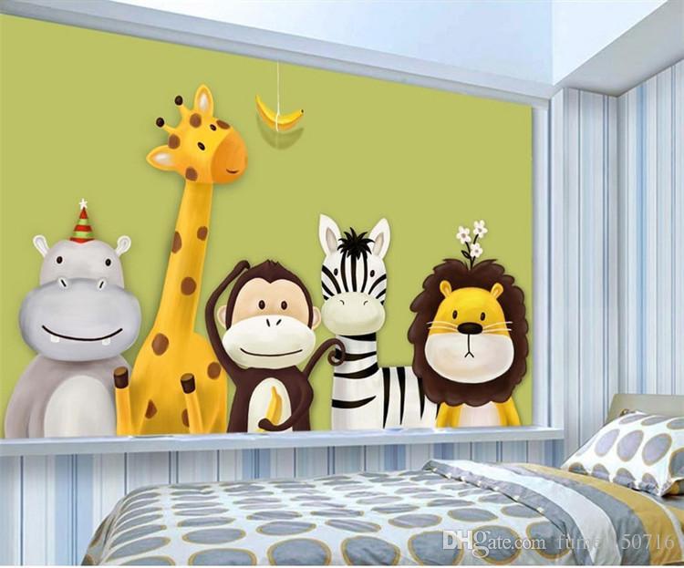 Custom Mural Wallpaper Children\'S Room Bedroom Cartoon Theme Animals ...