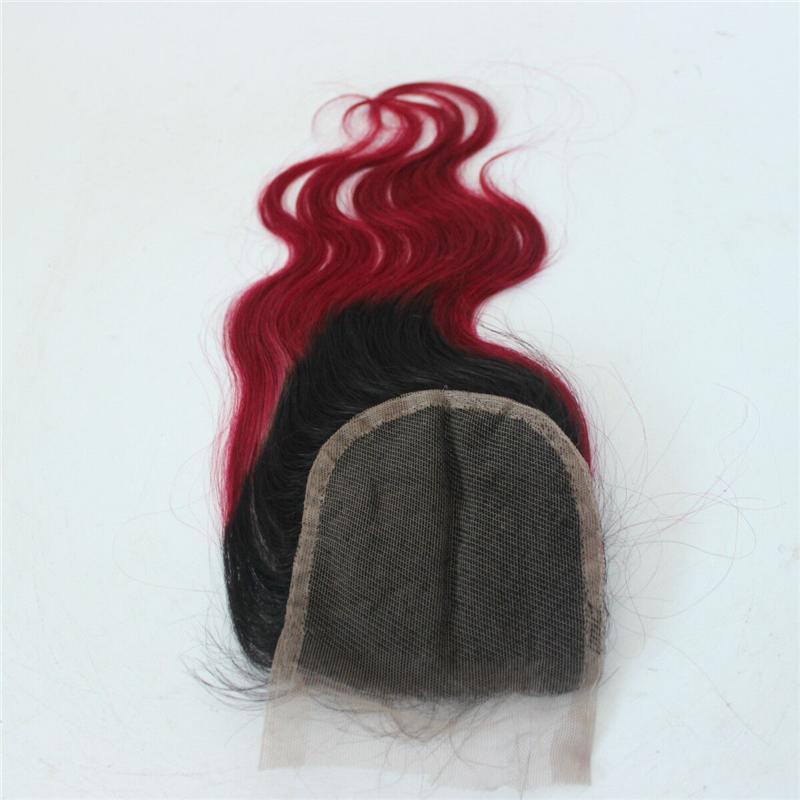 ombre 1b / 붉은 색 레이스 클로저 피스 바디 웨이브 두 톤 블랙 루트 레드 브라질 인간의 머리 레이스 클로저