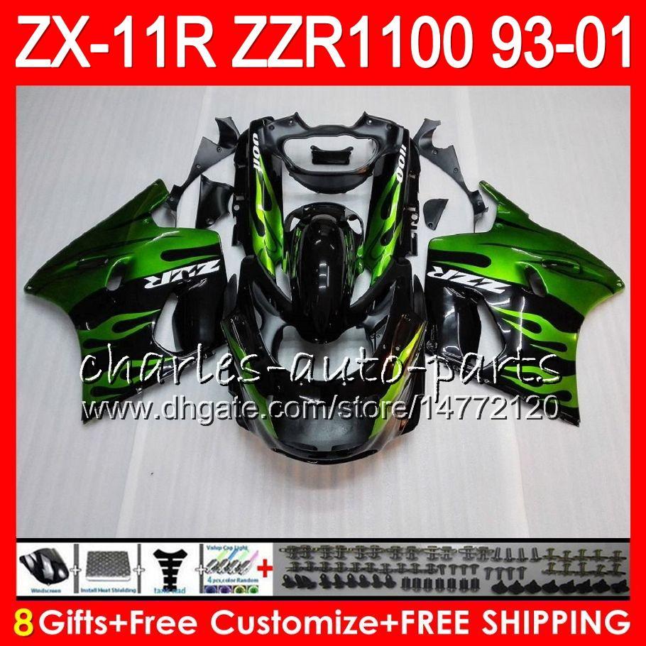 8Regalos para KAWASAKI NINJA ZX11 ZX11R 93 01 94 95 96 97 ZZR 1100 22HM11 llamas verdes ZZR1100 ZX-11R ZX-11 1993 1994 1995 1996 1997 Carenado