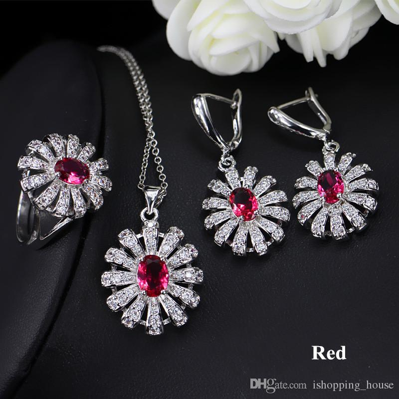 Women Fashion 3 in1 Jewelry Set White Gold Plated CZ Flower Earrings Necklace Ring for Girls Women for Wedding Party LY-036