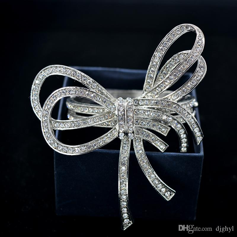 New Promotion Trend Baroque Retro Bowknot Bangles Crystal Flower Charms Cuff Open Bracelet Bride Jewelry Love Gift Wrist Band