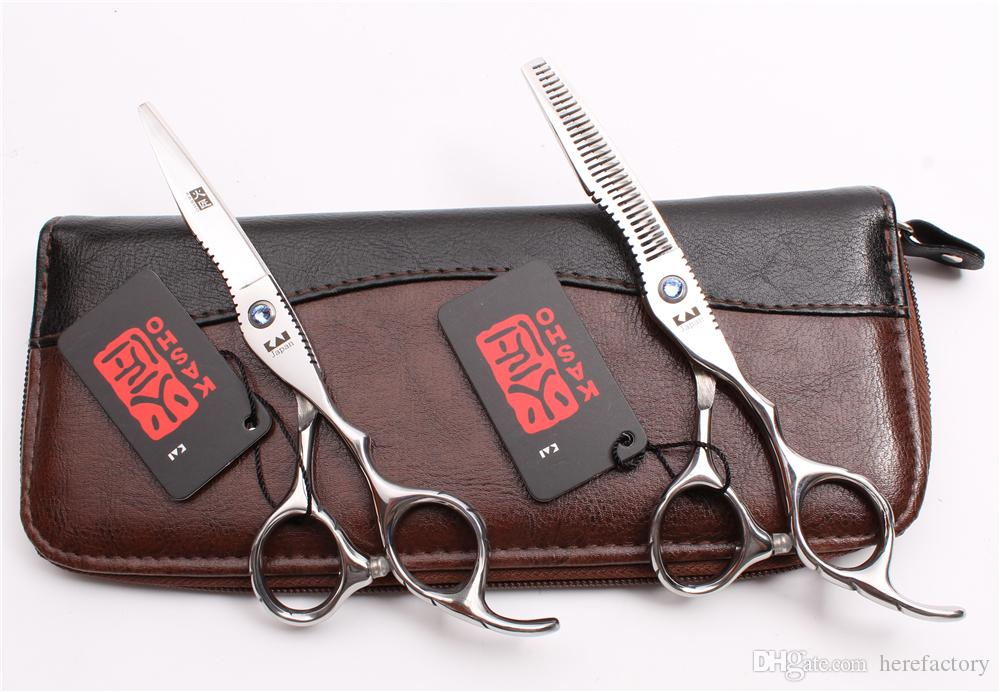 """H1011 6"""" Japan Steel Kasho Silver Professional Human Hair Scissors Barber's Hairdressing Scissors Cutting Thinning Shears Salon Style Tools"""