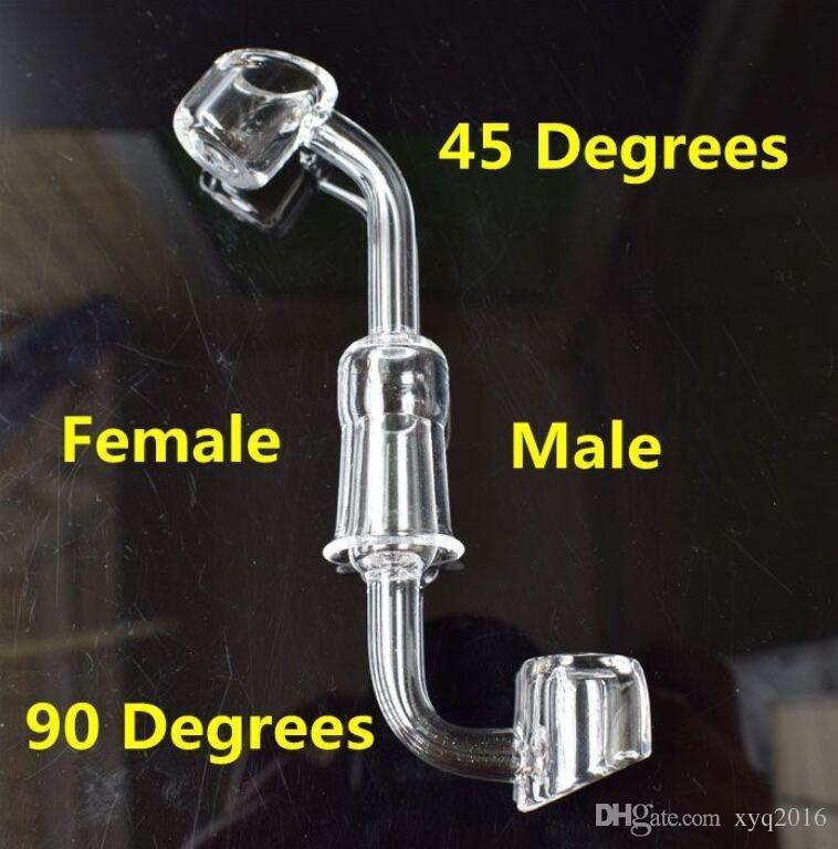 100% reale quarzo Banger 90 gradi 4mm di spessore Domeless Rettifica bocca spessa parete chiodo senza Domino di spessore maschio femmina 10mm 14mm 18mm Banger Nail