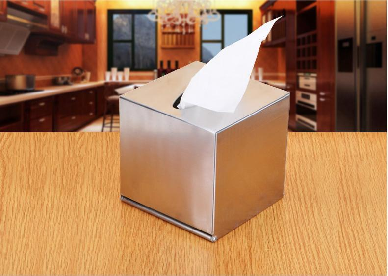 Wholesale- Kitchen Table Decoration Accessories Stainless steel square rectangle roll paper Tissue Boxes case free shipping