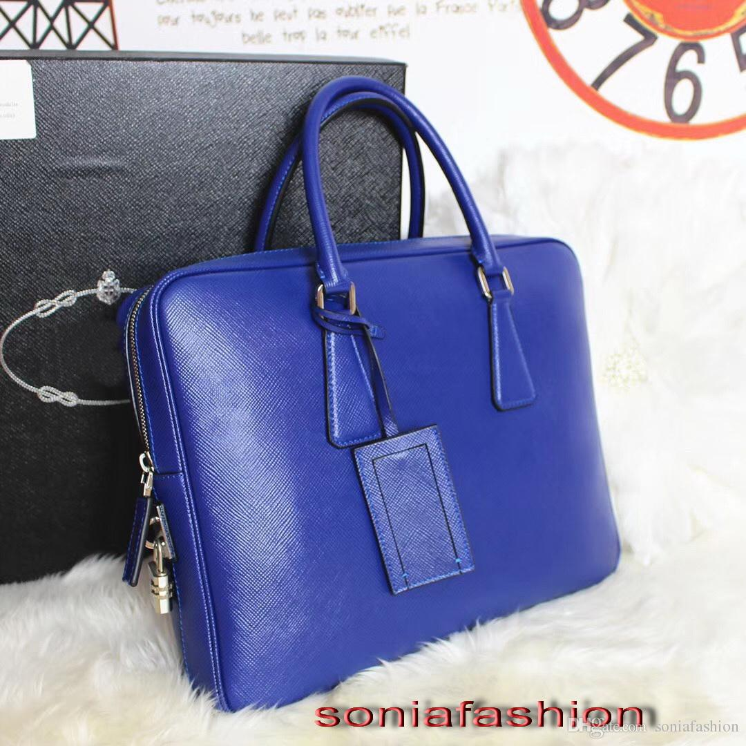 2017 new style hot sell men bag import genuine leather briefcase fashion zipper around man computer bag with long strap