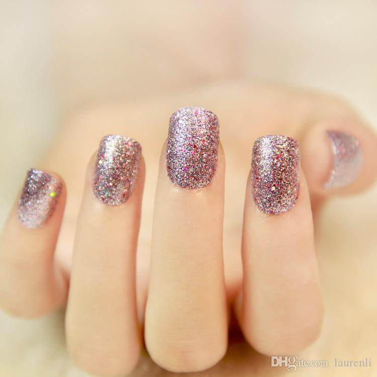 2017 New Fashion Pearl Powder Shinning Fake Nails Fairy Style Pretty ...