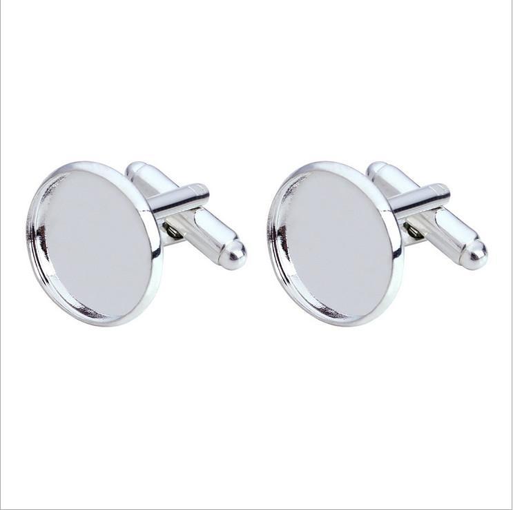 Livraison gratuite, haute qualité de boutons de manchette plaqués or blanc de 14mm autour de boutons de manchette blancs et blancs en or trouvés bijoux trouvés