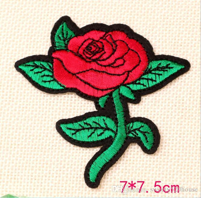 Rose Flower Patch for Clothing Iron on Embroidered Sew Applique Cute Patch Fabric Badge Garment DIY Apparel Accessories