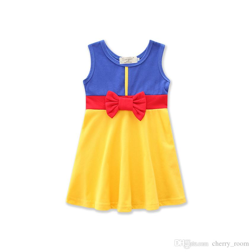 Bande dessinée d'été robe de bébé filles robes de princesse blanc Mickey sirène Bow Belle enfants robe de ligne C1703