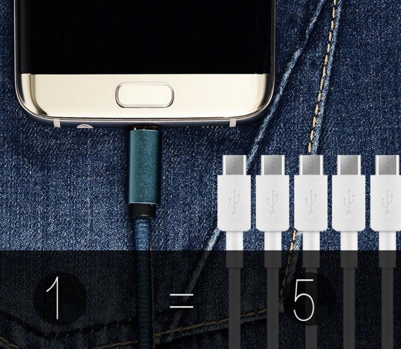 Jean Cloth Cavo in pelle micro USB 1M 3ft 2A Cavo dati V8 ricarica veloce Samsung Galaxy Smartphone HTC