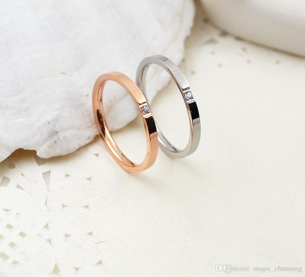 Nuovo arrivo titanio acciaio singolo zircone cubico donne popolare anello formato da 4 a 10 disponibili economici anelli di fidanzamento