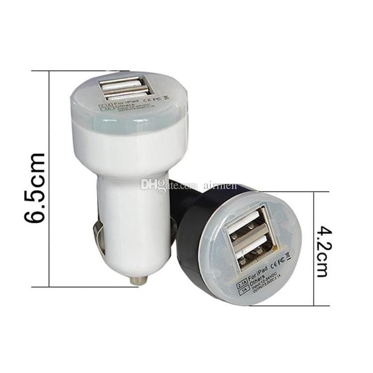 ميني شاحن USB مزدوج لشحن السيارات Bullet Double USB 2-Port 1A 2A 2.1A for Samsung Galaxy S4 S5 Note 2 3 iPhone 5 5s 4 Nokia HTC