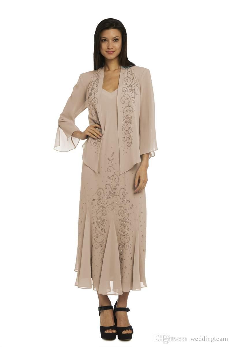 Klassische Perlenmutter der Brautkleider mit langarm Jacke V-Ausschnitt Hochzeit Gastkleid Knöchellänge plus Größe Chiffon Abendkleider