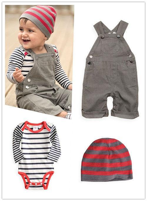 fe206b4e8fd03 Acheter Vente En Gros Vente Chaude Nouvelle Arrivée Bébé Garçon Vêtements  Kid Salopettes + Bébé Barboteuse + Cap   Ensemble Bébé Garçon Costume  Nouveau Né ...