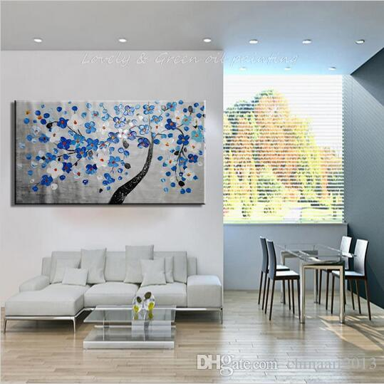Hand-painted Wall Art Pictures Palette Knife Tree Flowers Oil Painting On Canvas Abstract Wall Decor Frameless Canvas