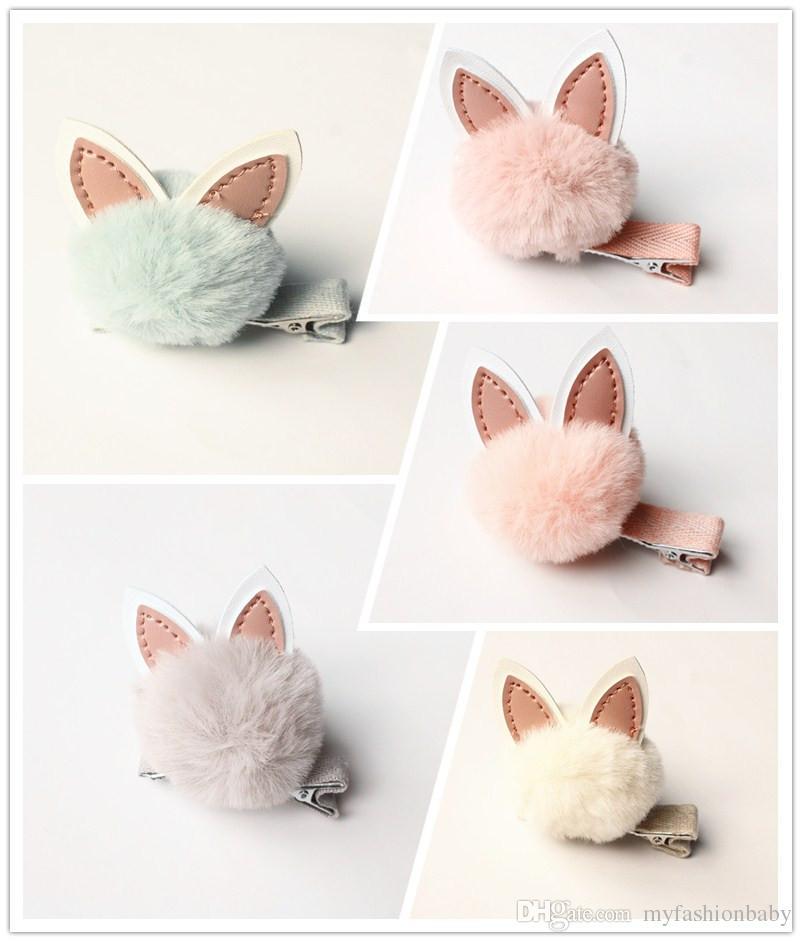 2017 Autumn Winter Wool Soft Roll PU Leather Rabbit Ear Kids Hair Barrettes Lovely Pink Girl Hair Clips Cartoon Design