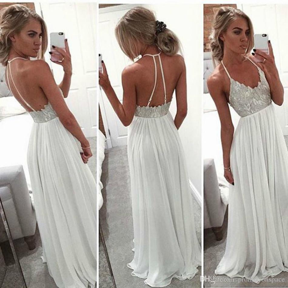 Großhandel Prom Kleider 15 Lange Chiffon Boho Halter Sexy Zurück Formale  Abendkleid Abschlussfeier Kleid Vestidos Von Promotionspace, 15,15 € Auf