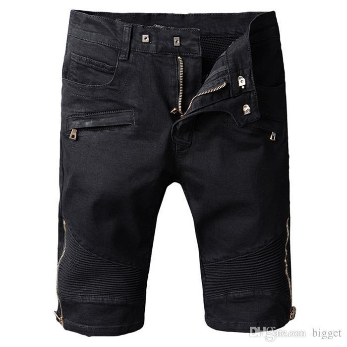 2017 Plus Size 42 Black Moto Denim Shorts Mens Embroidery Back ...