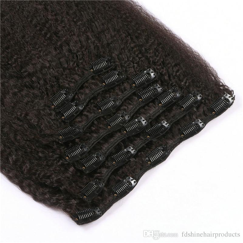 Kinky Straight Clip In Human Hair 120G Vietnamese Clip In Hair Extensions For African American FDSHINE HAIR