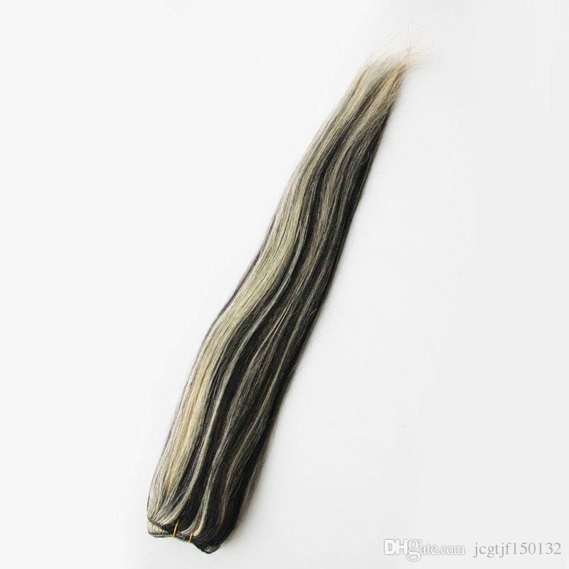 Perulu Bakire Saç Düz Saç Uzantıları Demetleri 100g İnsan Saç Uzantıları Örgü 1 adet 1B / 613 Piyano Renk