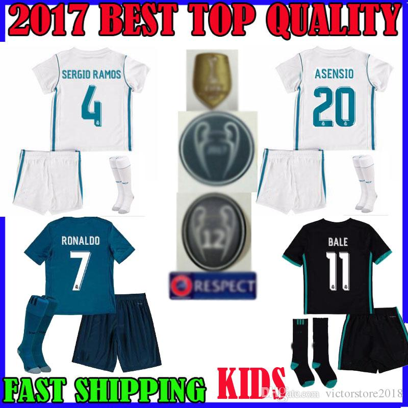 club zidane 5 white soccer uniforms home 2017 17 18 champions league real madrid kids soccer jerseys asensio youth boys child 2017 2018