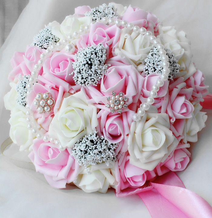 25 센치 메터 장미 인공 진주 신부 꽃다발 신부 꽃 웨딩 꽃다발 실크 리본 새로운 Buque 드 Noiva