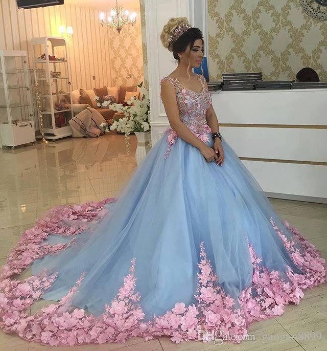 Azul bebê 3D Floral Masquerade Ball Gowns 2019 Trem Catedral Artesanal Flor Debutante Quinceanera Vestidos Sweety Meninas 15 Anos Vestido