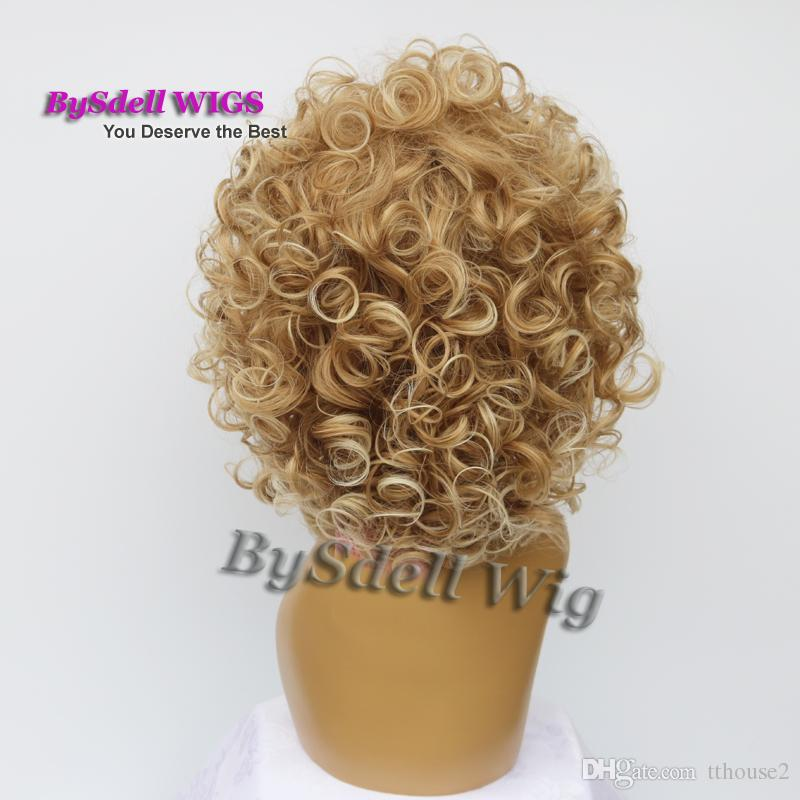 short big curly wig afro fluffy Dark ombre Light blonde tip color heat resistant wavy hair African American wigs for black women