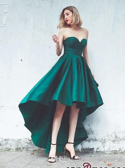 High Low Dark Green Prom Dresses 2018 Sweetheart Pleats A Line Front Split Satin Modest Evening Party Pageant Gowns Cheap Custom Made