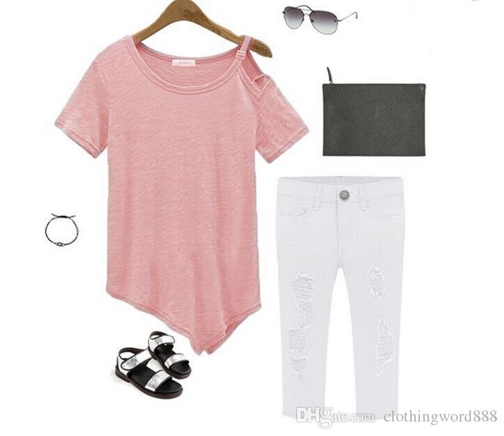 Hot Sale 2017 camisetas Summer Cotton t-shirts Fashion Tops 2016 Punk Rock tee shirt femme Off the Shoulder Strap T Shirt Women M88#