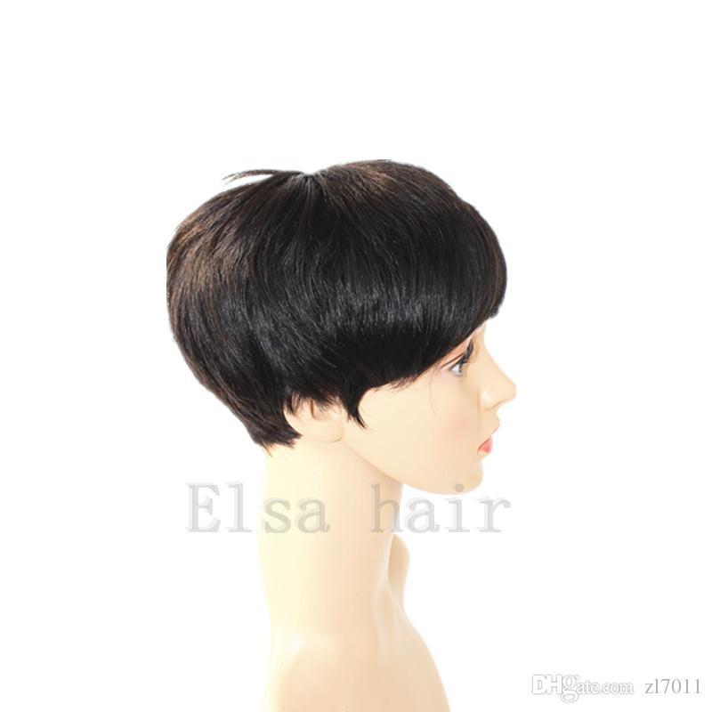 Echthaar Neue Perücke Kurze glatte Perücken für Schwarze Frauen billige volle Spitzeperücken Brasilianischer Pixie Cut Indisches Echthaar maschinell hergestellte Perücken