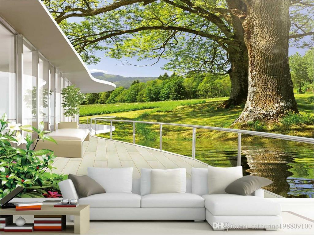 high quality costom nature scenery tv background wall mural 3d see larger image
