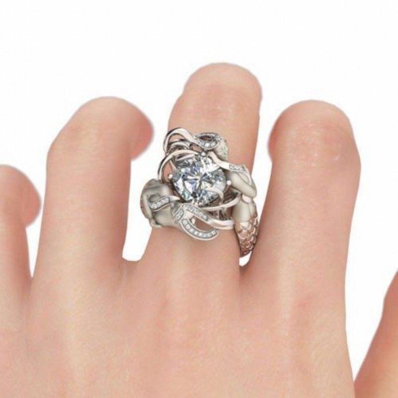 패션 귀여운 인어 공주 보석 반지 보석 쿠션 컷 8mm 여성 크기 5-10에 대한 시뮬레이션 다이아몬드 925 스털링 실버 웨딩 밴드 반지