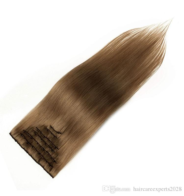 Popular 7A clip in hair extensions 120g #8 #4 brazilian human remy hair extensions