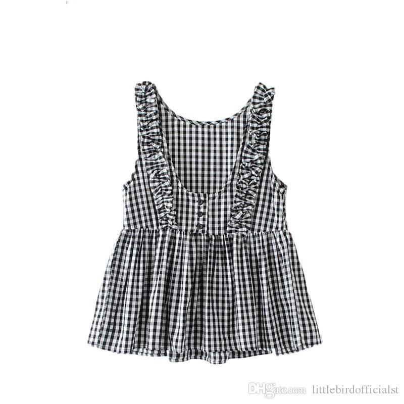 Las mujeres dulce volantes a cuadros camisa plisada botones sin mangas blusa a cuadros sin respaldo damas verano casual tops blusas