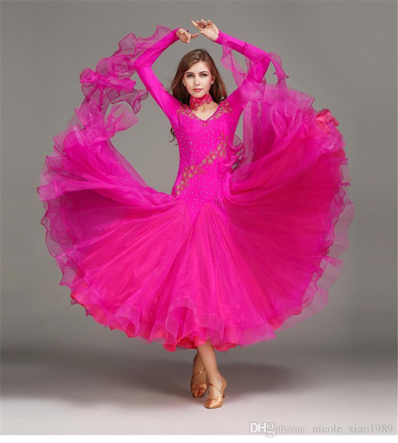 Новые женщины бальный танец платье современный Вальс стандартный конкурс горный хрусталь аппликация танец платье S-2XL YL060