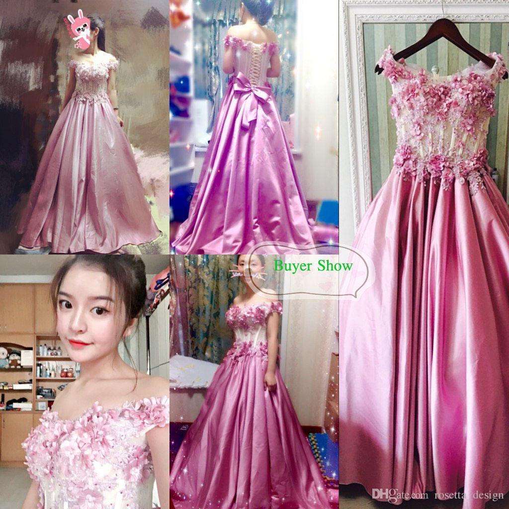 Compre Foto Real De Lujo Rosa Oscuro Vestidos De Baile 2017 Flores ...