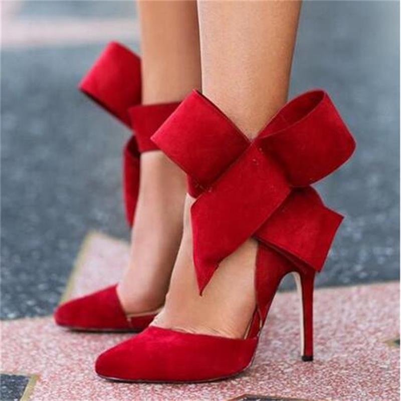Plus Size Shoes Women Big Bow Tie Pumps NEW Butterfly Pointed Stiletto Shoes