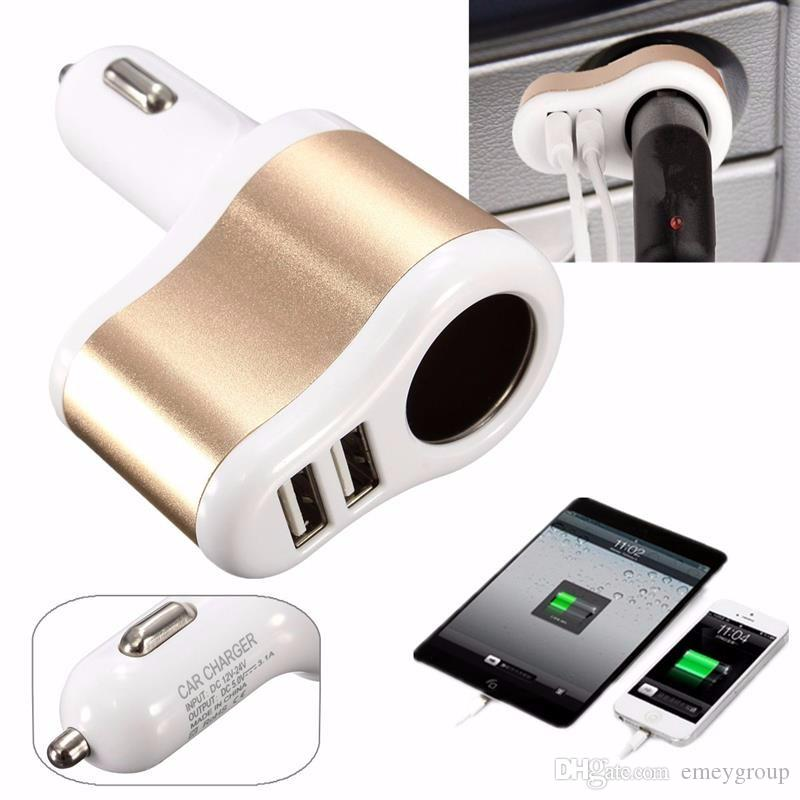 Car Charger Supply Double Sockets Electronic Cigarette Lighter Extender Splitter Adapter Car 2 USB for iphone samsung ipad smartphone
