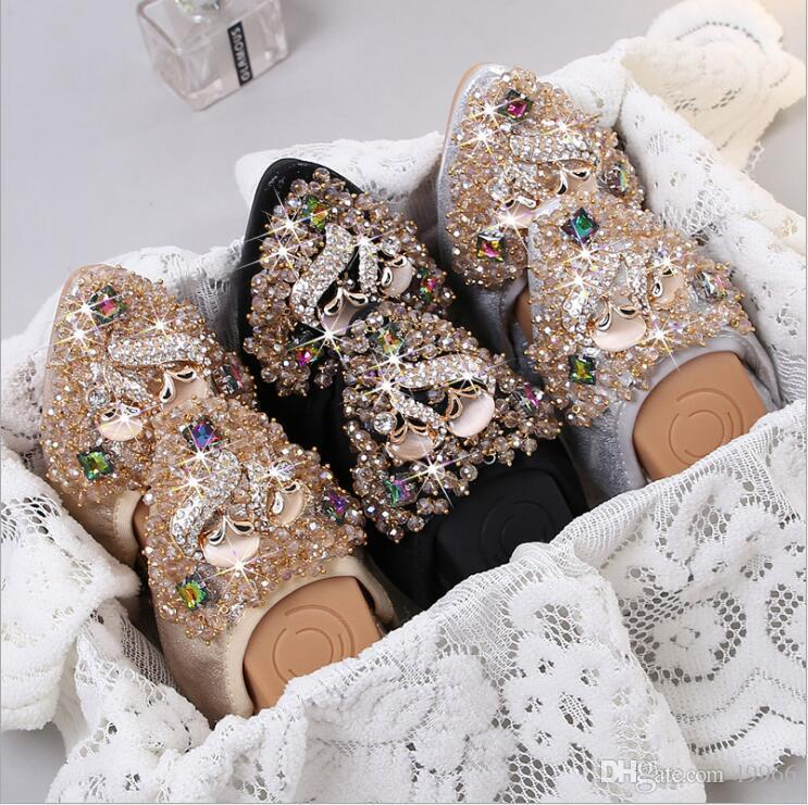 460993a7df9a7b Fashion Women Loafers Crystal Ballet Flats Folding Shoes 2017 Casual  Rhinestone Soft Driving Dancing Egg Rolls Boat Shoes Wedges Shoes White  Shoes From ...