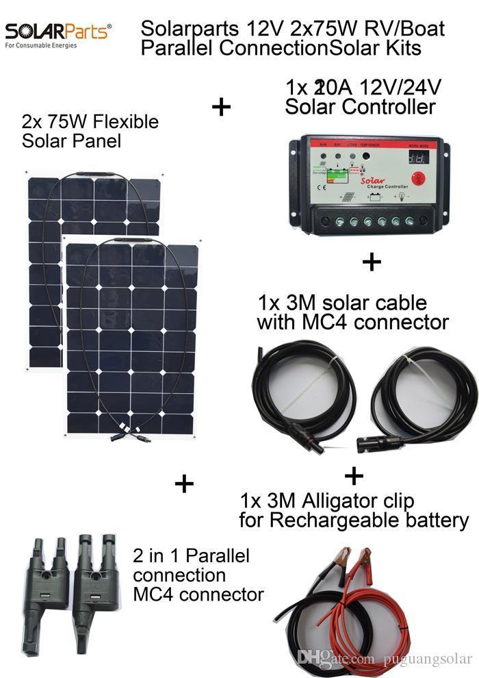 Solarparts 2x75W DIY RV/Boat Kits Solar System flexible solar panel 1x 10A solar controller 3M MC4 cable clip