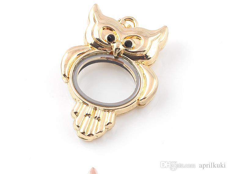 Silver Gold Rose Gold 3D Bird Owl Locket Charms Pendants Fashion Fit Bracelets Necklace Jewelry DIY Floating Lockets Charm