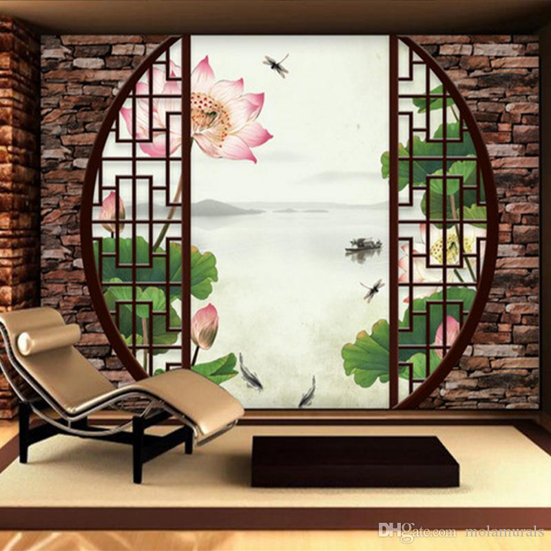 Custom 3d Mural Wallpaper Non Woven Chinese Style Retro 3d Windows