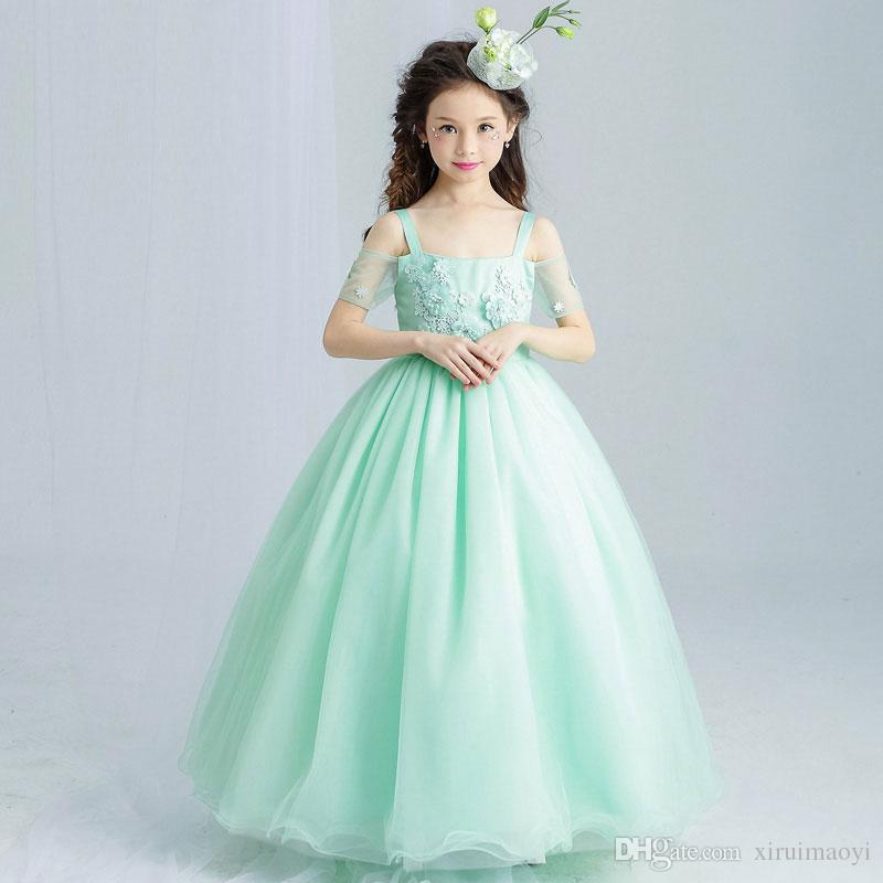 Mint Green Elegant Tulle Lace Girl Wedding Dress Ankle Length ...