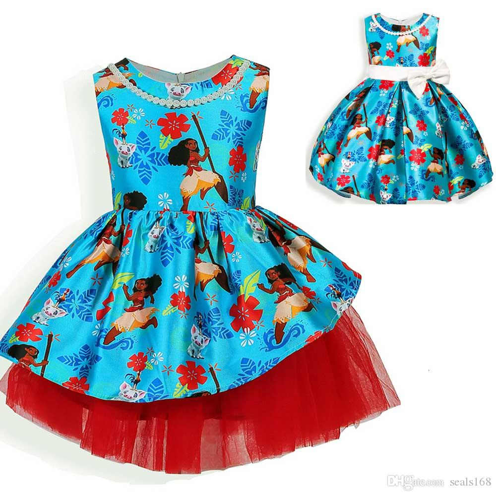 2017 New Girls Moana Dresses Tropical Ocean Fancy Printed Dress ...
