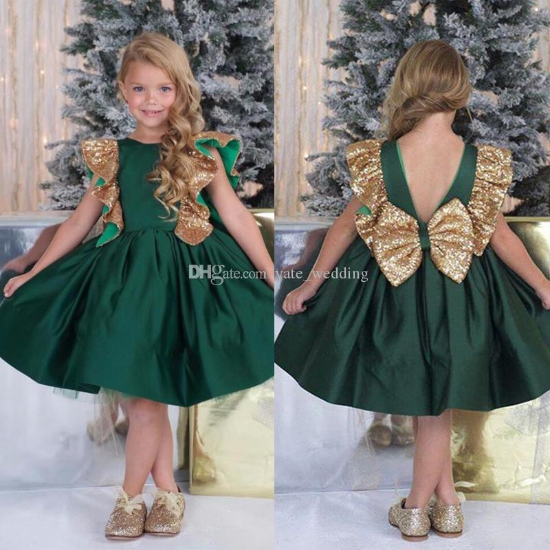 14ba4d4cfcc5 Fashion Dark Green Gold Girls Pageant Dresses Ruffled Sleeves Satin Sequins  Knee Length Backless Children Party Dresses Flower Girls Dresses Toddler  Flower ...