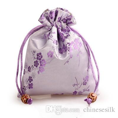 Cherry blossoms Small Silk Satin Bags Drawstring Jewelry Gift Packaging Pouch Candy Tea Makeup Tools Coin Storage Pocket with Lined