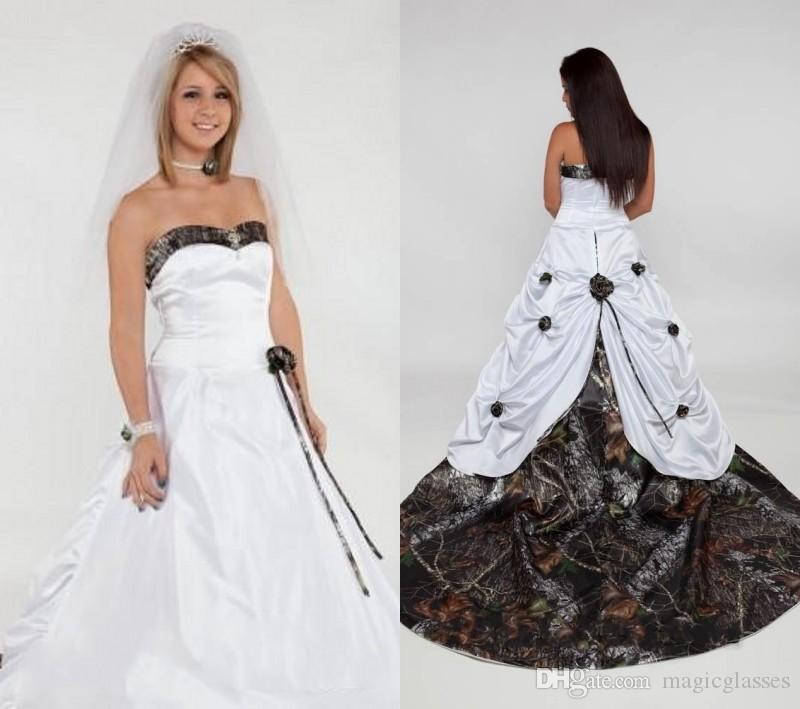 Discount 2017 Camo Camouflage Wedding Dresses With Detachable Train ...